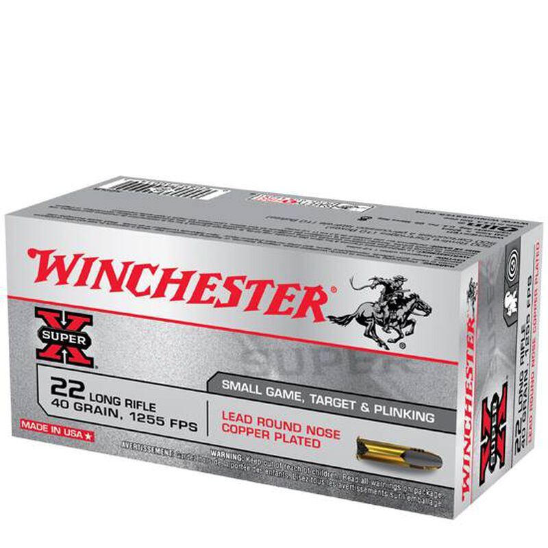 Winchester Super-X .22LR Ammunition 40 Grain Plated LRN 1255 fps