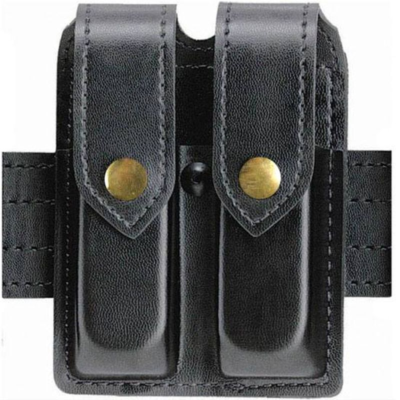 Safariland Model 77 Double Handgun Magazine Pouch SIG Sauer P250DC Plain Finish Brass Snap Closure Black 77-283-2B