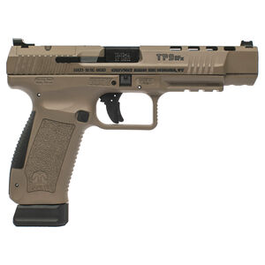 "Century Arms Canik TP9SFX Semi Auto Pistol 9mm Luger 5.2"" Barrel 20 Rounds Fiber Optic Sights Interchangeable Grips Polymer Frame Desert Tan Cerakote Finish"