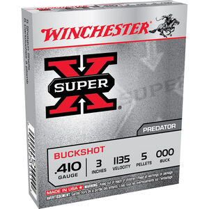 "Winchester Super-X .410 Bore 3"" 000 Buck 5 Pellet 5 Rnd Box"