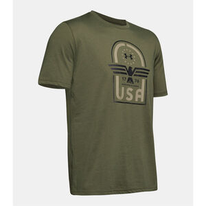 Under Armour Men's Freedom USA Eagle T-Shirt Size 3XL Cotton/Polyester Blend Marine OD Green