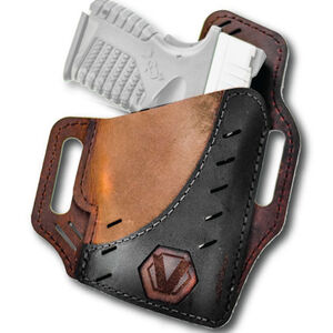 Versacarry Underground Premium Guardian Black Vault Holster GLOCK 42/43 Springfield XDS and Similar Sub Compacts OWB Right Hand Water Buffalo Leather Distressed Brown and Black