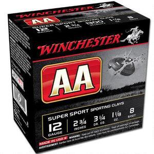 """Winchester AA Super Sport 12 Gauge Shot Shells250 Rounds 2 3/4"""" #8 Lead 1 1/8 Ounce AASC128"""