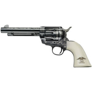 """E.M.F. Great Western II Liberty 1873 Revolver 45 LC 4.75"""" Barrel 6 Rounds Laser Engraved Ivory Grips Blued"""