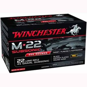 Winchester M-22 SubSonic .22LR Ammunition 45 Grain Plated LRN 1090 fps
