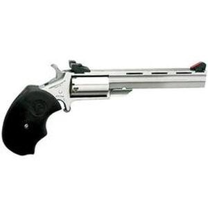 "NAA Mini Master Single Action Revolver .22 LR/.22 Mag 4"" Stainless Barrel 5 Rounds Steel Stainless Frame Adjustable Sights Black Rubber Grips NAA-MMT-C"