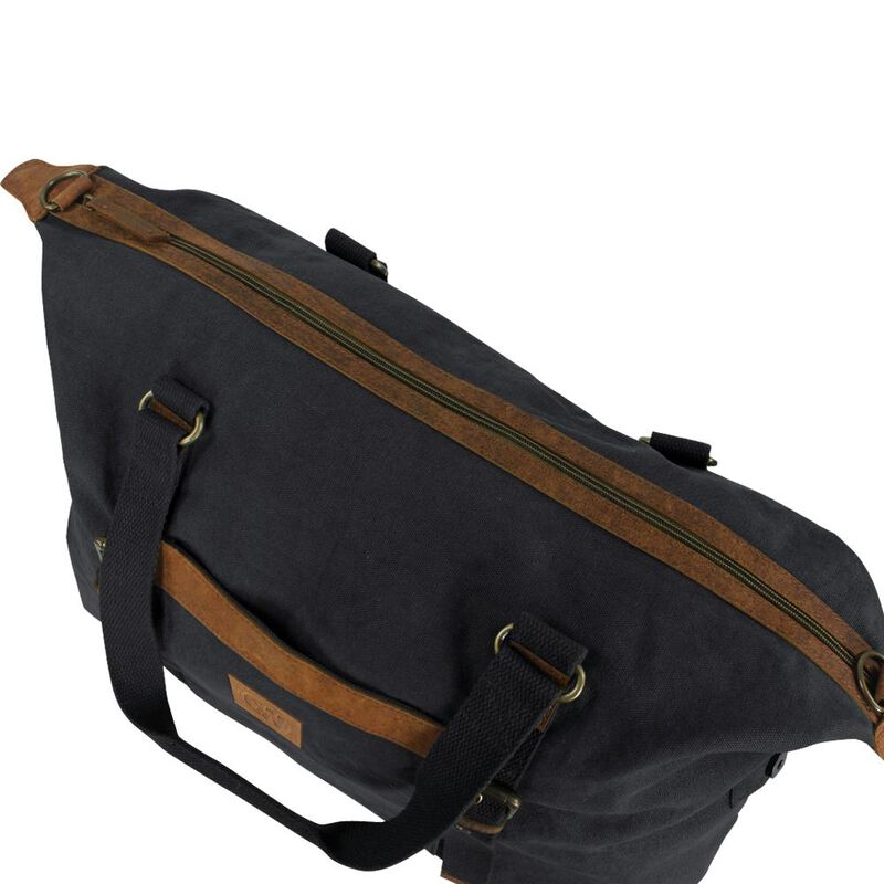 Camp-Ways Vintage Urban Travel Bag Distressed Black Canvas and Tan Leather