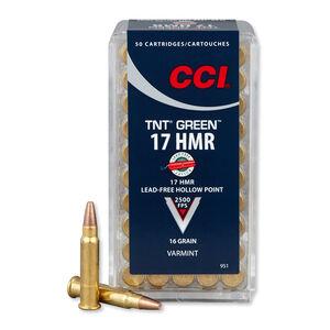 CCI TNT Green .17 HMR Ammunition 50 Rounds HP 16 Grains 2,500 Feet Per Second Lead Free
