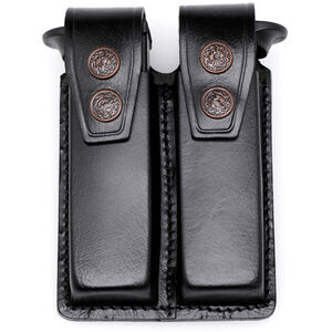 "JBP Double Magazine Case  Black Leather 2"" Belt Loops for GLOCK Style Magazines"