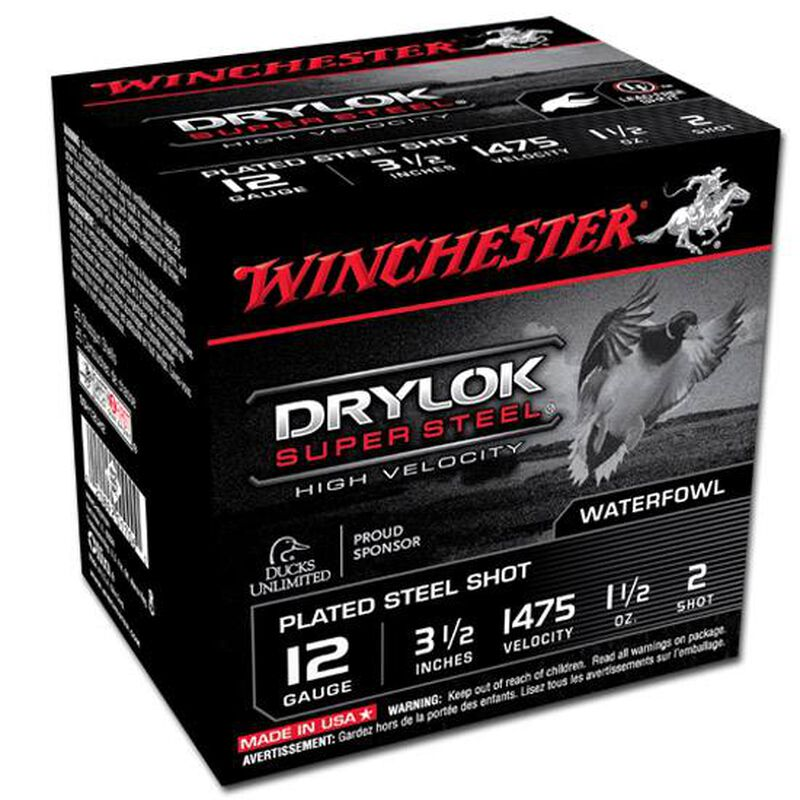 "Winchester Drylok 12 Ga 3.5"" #2 Steel 1.5oz 250 Rounds"