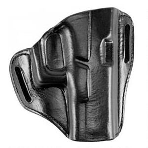 Bianchi Model 57 Remedy Semi Auto Size 21 Ruger LC9/LC380 Belt Slide Holster Right Hand Leather Plain Black