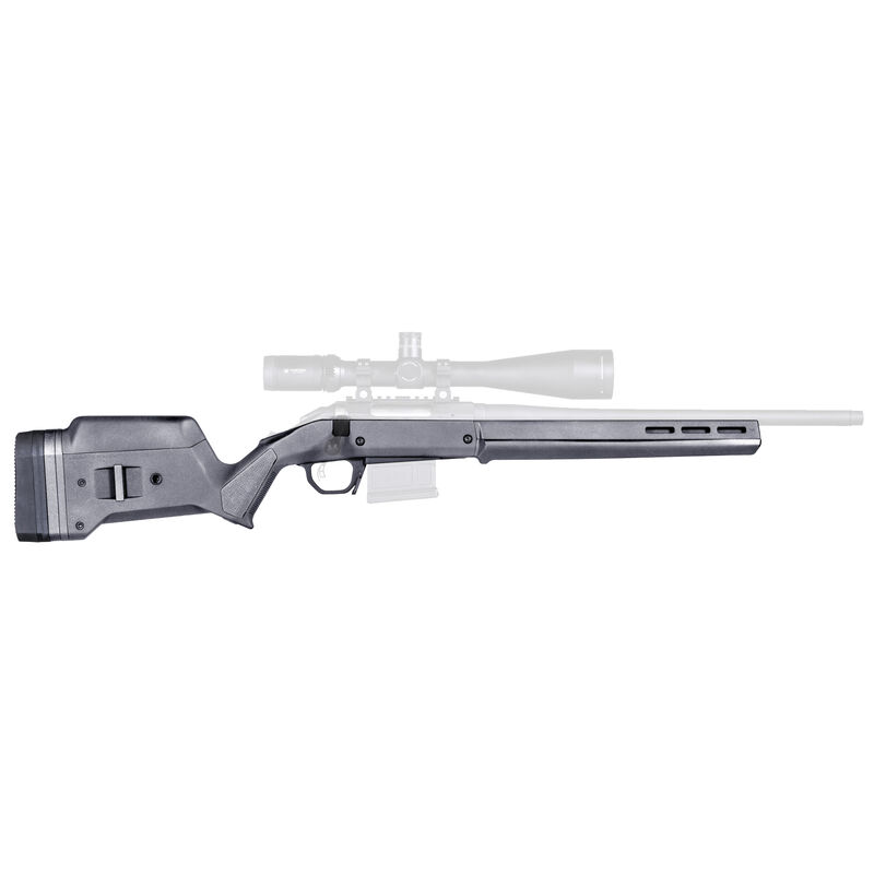 Magpul Hunter Stock for Ruger American Short Action Calibers M-LOK Modular Attachment Slots Aluminum Bedding Block Adjustable LOP Spacers Polymer Gray