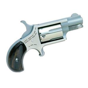"NAA Mini Single Action Revolver .22 LR 1.13"" Barrel 5 Rounds Wood Grips Stainless Steel NAA-22LR"