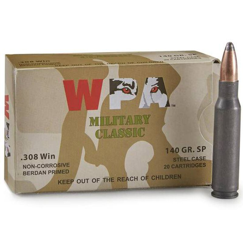 Wolf Military Classic .308 Winchester Ammunition 140 Grain Bi-Metal SP Steel Cased 2800 fp
