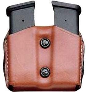 DeSantis Double Mag Pouch GLOCK 43 Single Stack Sub Compact OWB Magazine Holster Ambidextrous Vertical or Horizontal Leather Tan