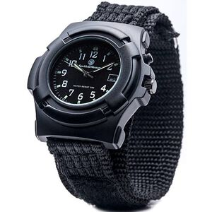 Smith & Wesson Men's Lawman Watch Electronic Back Light with Nylon Strap Water Resistant Black SWW-11B-GLOW