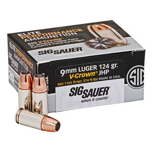 SIG Sauer Elite Performance V-Crown Ammunition 20 Rounds 9mm Luger 124 Grain V-Crown Jacketed Hollow Point Projectile 1165fps