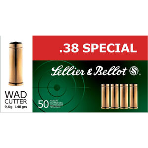 Sellier & Bellot .38 Special Ammunition 50 Rounds LWC 148 Grains SB38B