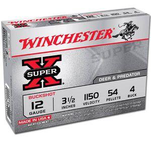 """Winchester Super-X 12 Ga 3.5"""" #4 Buck 54 Pellets 5 Rounds"""