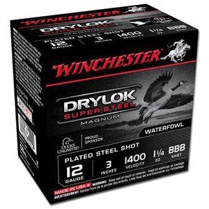"""Ammo 12 Gauge Winchester Super-X Drylok Super Steel 3"""" BBB 1-1/4 oz Shot 25 Round Box 1375 fps XSC123BBB"""