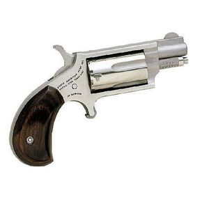"NAA Mini Single Action Revolver .22 Magnum 1.13"" Barrel 5 Rounds Rosewood Grips Matte Stainless Finish NAA-22MS"