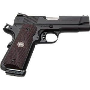 "Wilson Combat Professional Elite Semi Automatic Handgun .45 ACP 4"" Barrel 8 Rounds Cherry G10 Grips Black Finish"