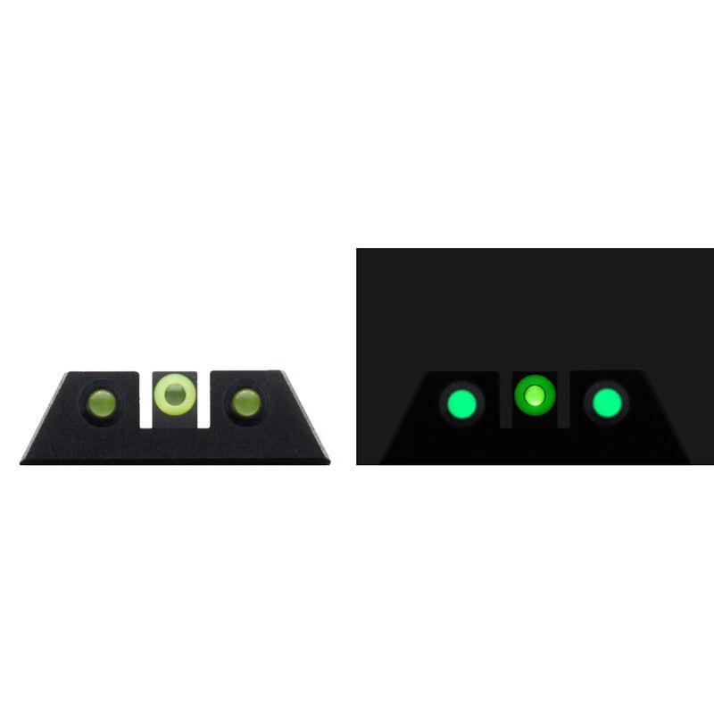 Night Fision Glow Dome Tritium Night Sight Set Fits S&W M&P Models Green Tritium/Yellow Ring CNC Machined Housing Black Finish