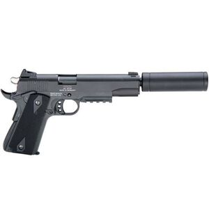 "ATI/GSG 1911 AD OPS Semi Auto Handgun .22 LR 5"" Barrel 10 Rounds Fixed Sights Plastic Grips Picatinny Rail Fake Suppressor Black Finish GERG1911ADOP"