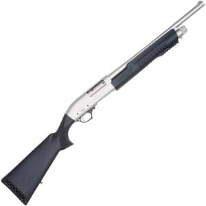 "TriStar Cobra II Tactical Marine Pump Action Shotgun 12 Gauge 18.5"" Barrel 3"" Chamber 5 Rounds Blade Front Sight Black Synthetic Stock Brushed Nickel Finish"