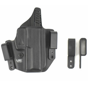 """L.A.G. Tactical Defender Series OWB/IWB Holster 1911 5"""" Barrel with Rail Right Hand Kydex Black"""