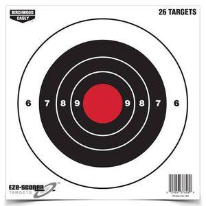 """Birchwood Casey Eze-Scorer 8"""" Bull's Eye Paper Target Indoor/Outdoor White 26 Pack 37826"""