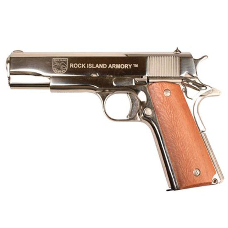 "Rock Island Armory GI Standard FS 1911 Semi Auto Handgun .38 Super 5"" Barrel 8 Rounds Synthetic Grip Polished Nickel Finish 81514"