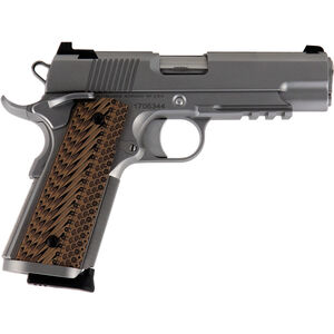 """Dan Wesson 1911 Specialist Commander 9mm Luger Semi Auto Pistol 4.25"""" Barrel 9 Rounds Fixed Night Sights G-10 Grips Stainless Steel Bead Blasted Finish"""