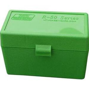 MTM Case-Gard R-50 Series Flip Top Rifle Ammo Box 22-250 Rem/6.8 Rem SPC/7.62x39 Russian 50 Rounds Green RS-S-50-10