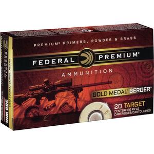 Federal Gold Medal Berger .308 Winchester Ammunition 20 Rounds 185 Grain Berger Juggernaut Open Tip Match 2600fps