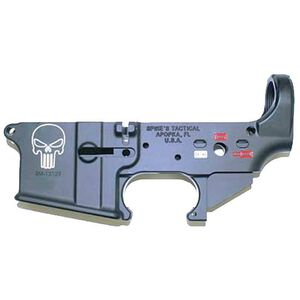 Spikes Tactical AR-15 Forged Stripped Lower Receiver Multi Caliber Forged Punisher Skull Color Filled Aluminum Black STLS015-CE