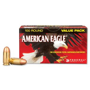 100 Rounds of Federal American Eagle .45 ACP Ammunition 230 Grain Full Metal Jacket 890 fps