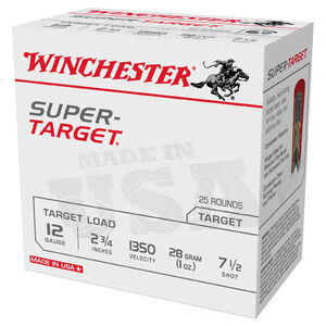 "Winchester Super-Target 12 Gauge Ammunition 250 Round Case 2-3/4"" #7.5 Lead 1oz 1350 fps"