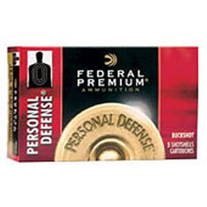 "Federal Personal Defense 12 Gauge Ammunition 5 Rounds 2-3/4"" 4 Buck Copper Plated 34 Pellets 1100fps"