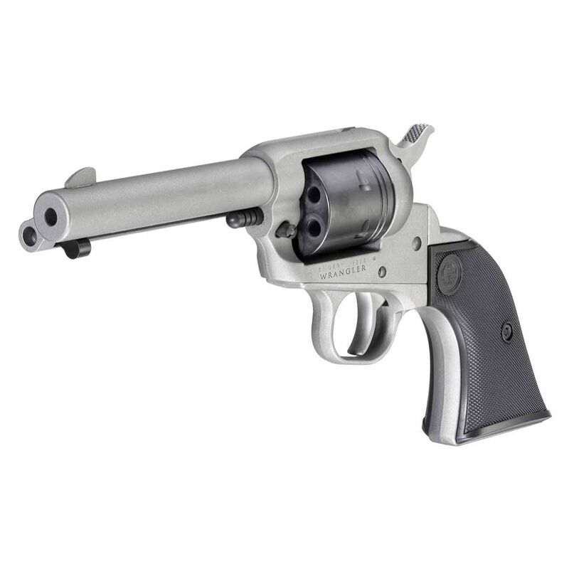 "Ruger Wrangler .22 LR Single Action Revolver 4.62"" Barrel 6 Rounds Aluminum Alloy Frame Silver Cerakote Finish"