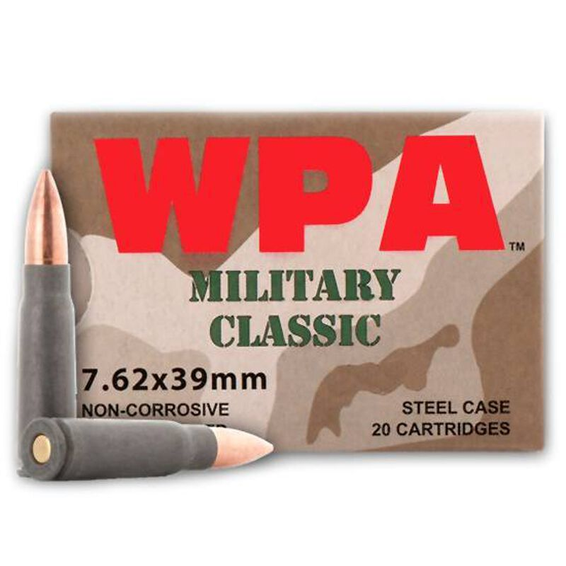 Wolf Military Classic 7.62x39mm Ammunition 124 Grain Bi-Metal Jacketed HP 20 Rounds Steel Cased 2402