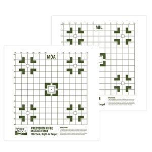 """Sport Ridge Precision Rifle 2 Sided MOA/MIL Sight-In Paper Target 16""""x16"""" 25 Pack"""
