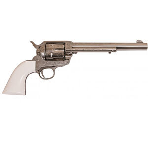"Cimarron Frontier Revolver 45 LC 7.5"" Barrel 6 Rounds Laser Engraved Poly Ivory Grip Nickel"