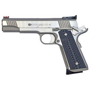 """Colt Custom Competition 1911 Series 70 Government Model Semi Auto Pistol .45 ACP 5"""" Barrel 7 Rounds Fiber Front Sight/Adjustable BOMAR Rear Sight G10 Grips Stainless Steel Finish"""