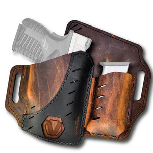 Versacarry Underground Premium Guardian Black Vault Holster with Magazine Pouch GLOCK 17/19 and Similar OWB Right Hand Water Buffalo Leather Distressed Brown and Black