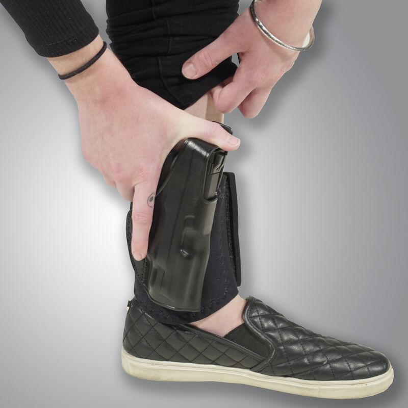 """Galco Ankle Glove Holster 1911 3"""" Right Hand Leather Black  AG424"""