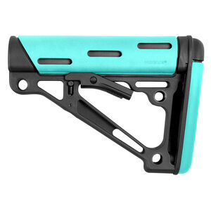 Hogue AR-15/M16 Collapsible Mil-Spec Diameter Carbine Buttstock Polymer/OverMolded Rubber Aqua/Black Finish