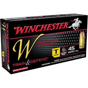 Winchester W Train and Defend .45 ACP Ammunition 230 Grain FMJ 850 fps