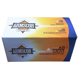 Armscor .22 TCM 9R Ammunition 100 Rounds 39 Grain Jacketed Hollow Point 1875fps
