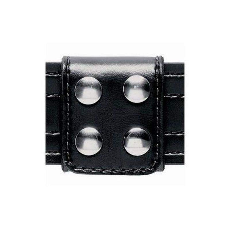 "Safariland Slotted Belt Keeper Extra Wide 4 Snap Fits 1.75"" Belts Chrome Hardware Plain Leather Black 654-2"